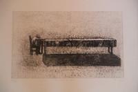 """Bejarano (Agustin Bejarano) #4603. """"Los ritos del silencio,"""" 2005. Dry point print. 17 x 25 inches."""
