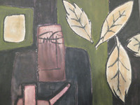 "Mederox (José Mederos Sigler) ""lluvia de hojas,"" 1988. Oil, tempera and ink on paper. 14.5"" x 18.5 inches"