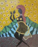 "Beatriz Peña Mayas #5373. ""Oshun,"" 2010. Oil on paper. 18 X 14.25 inches."