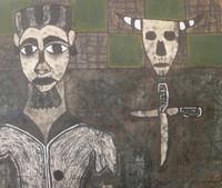 "Mederox (José Mederos Sigler)  #733 Untitled, 1991, Mixed media on paper. 22.5"" x 26,"""