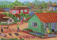 """Rubiceldys [R. Bernal] #5678. """"La crianza, 2012. Oil on canvas. 19.5 x 27.5 inches."""