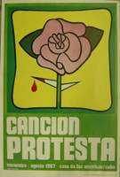 "Rostgaard (Alfrédo Gonzalez Rostgaard) ""Cancion protesta"", second edtion. Silkscreen. 39.5 x 27.5 inches."