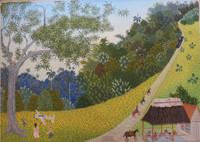 """Irahin Varela Osorio #5681. """"El bar de callo,"""" 2009. Oil on canvas, 22.5 x 36 inches."""