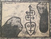 """Mederox (José Mederos Sigler) #2523. Untitled, 1995. Mixed media/tempera on paper. 16.5"""" x 22."""""""