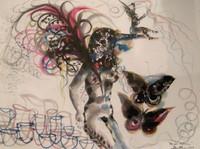 """Zaida Del Rio #4231. """"Mariposa nocturne,"""" 1999. mixed media on paper, 22 x 30 inches"""