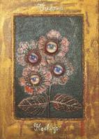 "Brito (Jacqueline Brito Jorge)  #6771. ""Verbena/Hechizo,"" From the series: ""Ikebana,"" 2007. Mixed media/oil on canvas. 9.25 x 6.5 inches."