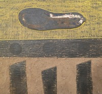 "Mederox (José Mederos Sigler) #3274. Untitled, 1996. Mixed media/ asphalt on cardoard. 14.5"" x 16."""
