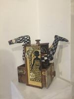 """William Perez #6776 (JS) """"Romance Colonial,"""" 2002. Mixed media. 13 x 15 x 10 inches."""