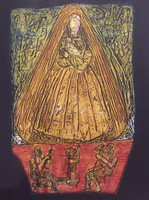 "Choco (Eduardo Roca Salazar) #6779. ""Virgen de La Caridad,"" 2017. Collagraph print edition IV/VII. 30 x 22 inches."