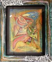 """Antonio Rodriguez Hernandez- RHA  #4651. 'Free as a bird,"""" 2010. Acrylic on canvas. 17.25 x 14.5 inches."""