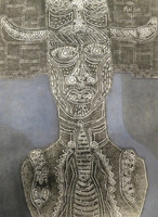 "Mederox (José Mederos Sigler)  Untitled, 1996. Mixed media on paper, tempera and sand. 17.5"" x 12.5."""