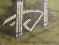 "Humberto Planas #3748 (SL) ""Proyecto encontrado, Columnas interiores,"" N.D. Mixed media on paper. 20 x 27 inches"