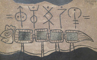 "Mederox (José Mederos Sigler) #2435. Untitled, 1998. Mixed media/ sand and asphalt on cardoard. 14"" x 22.5."""
