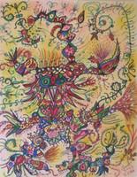 """Alberto Anido #7065. """"Lechuchita del parque vidal,"""" 2013. Mixed media on paper, 13 x 10 Inches"""