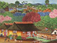 "Rubiceldys [R. Bernal] #9031. ""Campesino y fauna,"" N.D. Oil on canvas. 12 x 15.5 Inches."