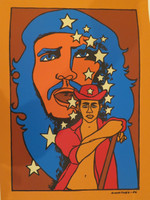 "Raúl Martínez #7097. Untitled, 1986. Screen print edition 6 of 80. 27"" x 19.5 inches."