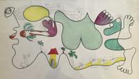 """Fuster (José Rodríguez Fuster) #299. """"Paisaje,"""" 1990. watercolor on paper.  12.5 x 22.5 inches."""