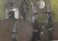 "Mederox (José Mederos Sigler) #1948. ""Conversando,"" 1999. Mixed media on paper. 20 x 27.5 inches."