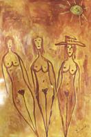 """Sanfiel (Jorge Luis Sanfiel) #2271.  """"Tres niñas,"""" 2000. Acrylic on paper. 15.75"""" x 9.5"""""""