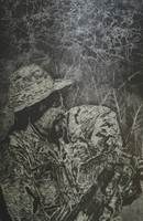 "Nelson Dominguez #363.  Untitled, ND. Linoleum print. 25.5"" x 17"""