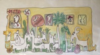 """Fuster (José Rodríguez Fuster) #393. """"Playa,"""" 1990. watercolor on paper. 12 x 22.5 inches."""