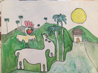 """Fuster (José Rodríguez Fuster) #452. """"Cuba Si,"""" N.D. Watercolor on paper. 11 x 14 inches."""