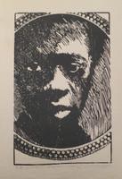 "Carballo (Oscar Carballo)   #488 (SL) NFS>> ""Choco,"" N.D. Woodcut print edition 8 of 13. Dedicated to Sandra. 19.5 x 14 inches."