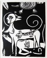 Montebravo (José Garcia Montebravo) #2530B.  Untitled, 1992. Linocut print edition 36 of 40. 20 x 15 inches.               .