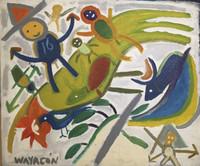 Wayacón (Julián Espinosa) #2709. Untitled, N.D. Oil on blue denim. 29 x 33 inches.