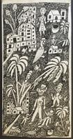 "Isabel De Las Mercedes #2754. ""Finca el pinto,"" 1992. Pen and ink on cardboard. 17 x 8.75 inches."