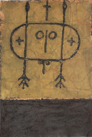 Mederox - Jose Mederos Sigler #2825. Untitled, 1997. Mixed media on roofing material. 20.5 x 14 inches. SOLD!