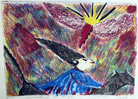 "Azeyad #2890. ""Caricatura de bruja,"" 1991. Etching, artist's proof. 12 x 15.5"