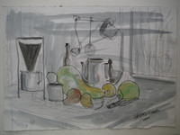 Lester Campa #5957. Untitled, 2000. Watercolor on paper. 10 x 13.75 inches.