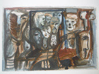 Lester Campa #5950. Untitled, 1997. Double sided watercolor on paper. 7 x 9.75 inches.