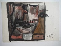 Lester Campa #5947. Untitled, 1997. Double sided watercolor on paper. 7 x 5 inches.