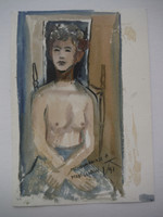 Lester Campa #5946. Untitled, 1997. Double sided watercolor on paper. 7 x 5 inches.