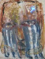 Yuniel Delgado Castillo - 5920. as lagrimas de arte sugeto 2013 mixed media/acrylic on canvas 51x41.25 INCHES. SOLD!