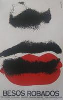 """Azcuy (René Azcuy Cardenas)  """"Besos Robados,"""" 1970. Silkscreen print. 30 x 20 inches."""