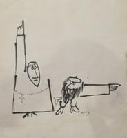 Nuez (Rene de la Nuez) #5741 (SL) Untitled, N.D. Ink on paper. 11 x 10.5 inches.