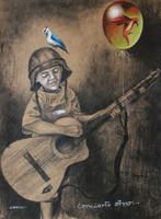 """Copperi (Luis Alberto Perez Copperi) #4985. Concierto Otro,"""" 2009. Printers ink on craft paper. 27.5 x 20 inches"""