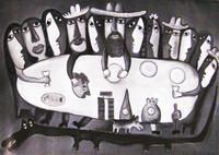 """Fuster (José Rodríguez Fuster) #4905. """"La ultima cena,"""" 2008. Oil on canvas. 27 x 39 inches. SOLD!"""