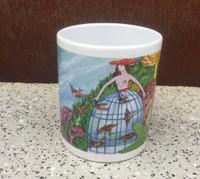 Artist Alicia Leal on a perfect cafe con leche mug #423M.  Museum of Fine Arts, Havana