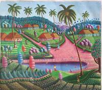 "Magnolia [Magnolia Betancourt] #6829.  ""Donde nací,"" 2018. Acrylic on canvas. 19.5"" x 21.5"""