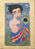 "Maria Sanchez #6833. ""Sirena de los dos aguas,"" 2018. Mixed media on handmade paper. 11.75"" x 8.75"""