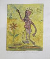 "Carvajal #6007. ""El guije de la flor,"" N.D. Collagraph print edition 3 of 6. 10 x 8.25 inches."