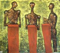 """Alazo - Alejandro Lazo #4336 . """"Macuteros viejos,"""" 2005. Oil on canvas 25.5 x 32.5 inches."""