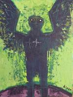 """Alazo - Alejandro Lazo #4346. """"Siguapa,"""" 2008. Acrylic on canvas. 13.56 x 10.5 inches"""