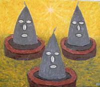 """Alazo - Alejandro Lazo #4353 . """"Tres Caminos,"""" 2008. Oil on canvas 21.25 x 25.5 inches."""