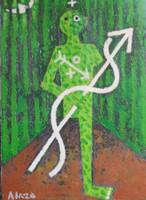 """Alazo - Alejandro Lazo #6090. """"Osain - Kenke,"""" 2011. Oil on canvas. 12 x 9 inches"""