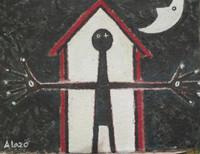 """Alazo - Alejandro Lazo #6027. """"Tu casa es mi casa,"""" 2012. Acrylic on canvas. 12 x 16 Inches."""